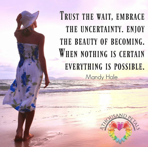 Trust the wait. Embrace the uncertainty. Enjoy the beauty of becoming. When nothing is certain, anything is possible. Mandy Hale #lifequotes