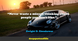 """Never waste a minute thinking about people you don't like.""  ― Dwight D. Eisenhower"