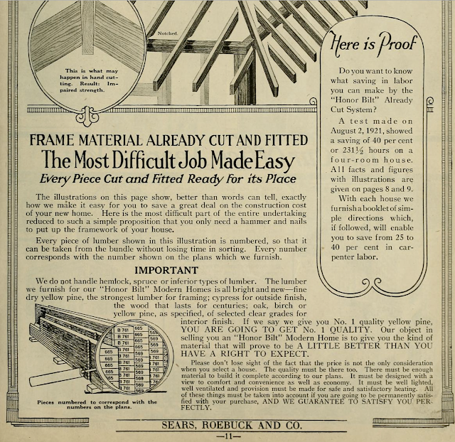 black and white image focusing on cut and fitted benefits 1923 Sears Modern Homes catalog page explaining pre-cut system