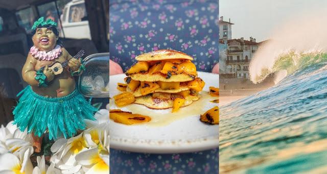 Pancakes und Mango vom Grill mit Bitterorangen-Eis.