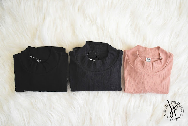 Uniqlo Ribbed High Neck shirts in black, navy and pink