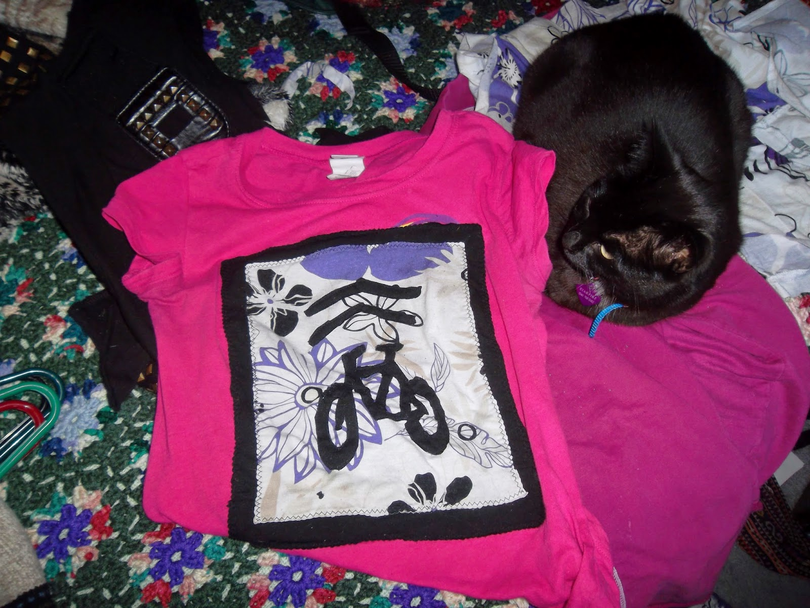 Black cat sitting on pink shirt that features a layered black on white-background-floral Sharrow or Share-the-Road bicycle road-marking design