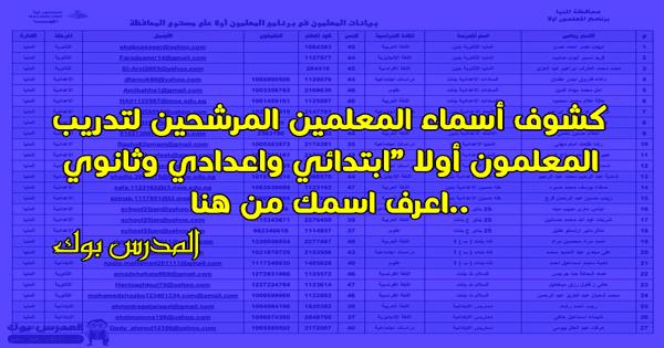 تدريب المعلمون أولا كشوف أسماء المعلمين المرشحين ابتدائي واعدادي وثانوي..اعرف اسمك من هنا