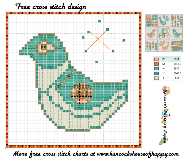 Mid-Century Madness: Free Country Style Mid-Century Cross Stitch Sampler Design Part VI