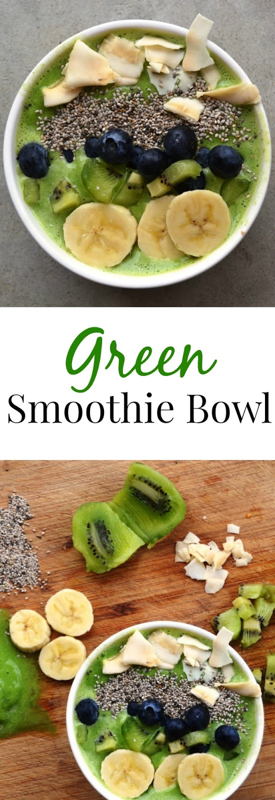 This Green Smoothie Bowl takes 5 minutes or less to make and is customizable based on what you have on hand. Makes the perfect breakfast or snack! www.nutritionistreviews.com