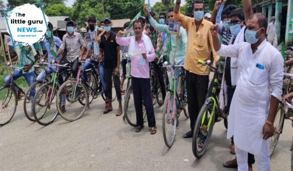 बढ़ते डीजल और पेट्रोल के दाम के विरुद्ध निकाली गई साइकिल रैली