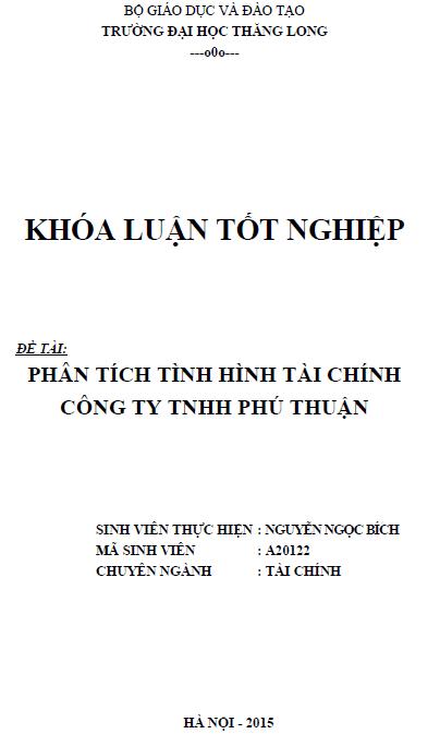 Phân tích tình hình tài chính tại Công ty TNHH Phú Thuận