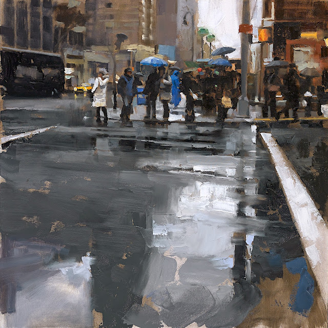 Gregory Manchess, a wet rainy street corner with people and umbrellas
