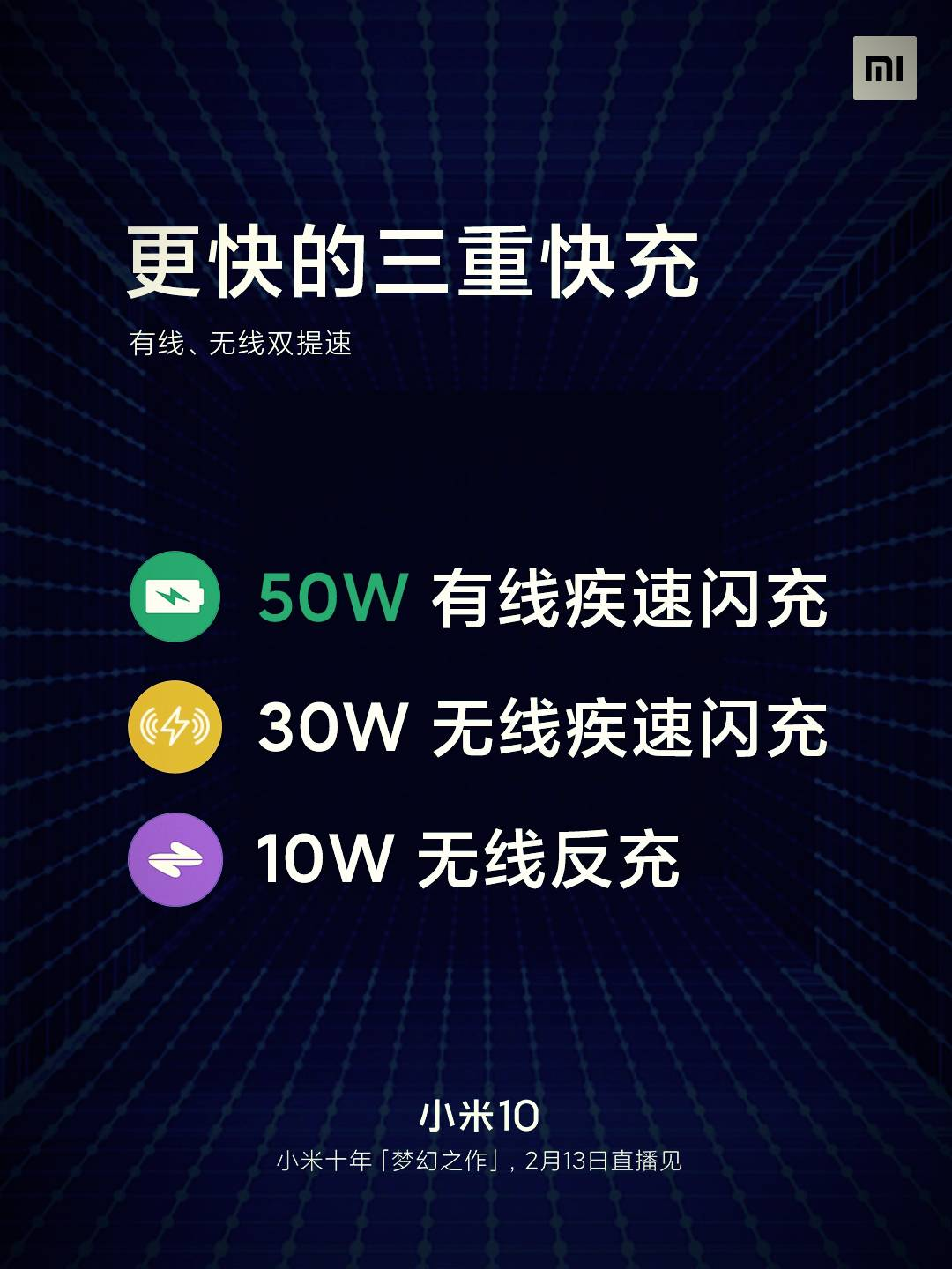 Xiaomi Mi 10 new generation triple fast charge announced: fast blood return