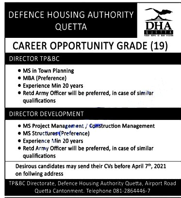 Latest Jobs in Defence Housing Authority  DHA 2021