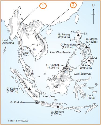 Gambar peta pegunungan, perbukitan, dataran tinggi di asia tenggara