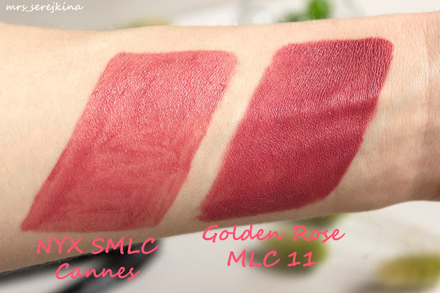 Golden Rose Matte Lipstick Crayon 11 vs NYX SMLC Cannes