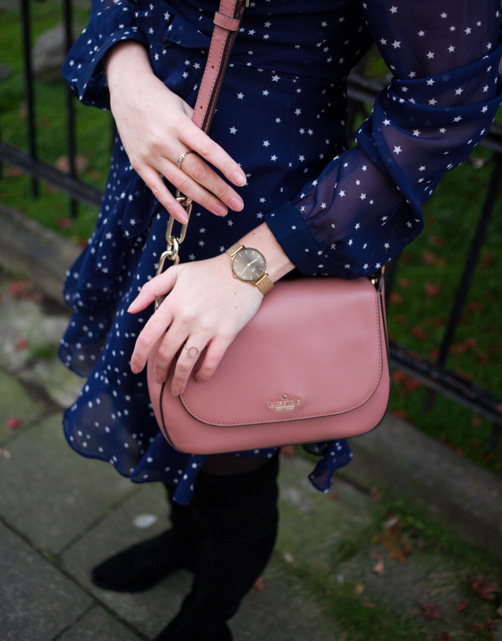 thigh high boots, star print dress, kate spade purse