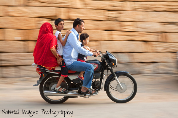 four people on motorbike in india