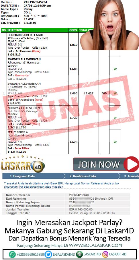 Jacpot Bola Pada Tanggal 27 Agustus 2019 Dan Lunas Dibayarkan