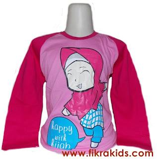Kaos Raglan Anak Muslim Pink