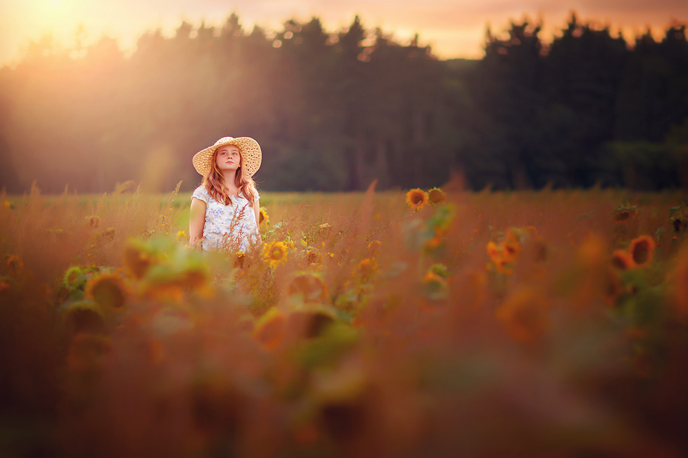 image of a girl in a field of sunflowers by Willie Kers of GlamourKidz Photography the netherlands