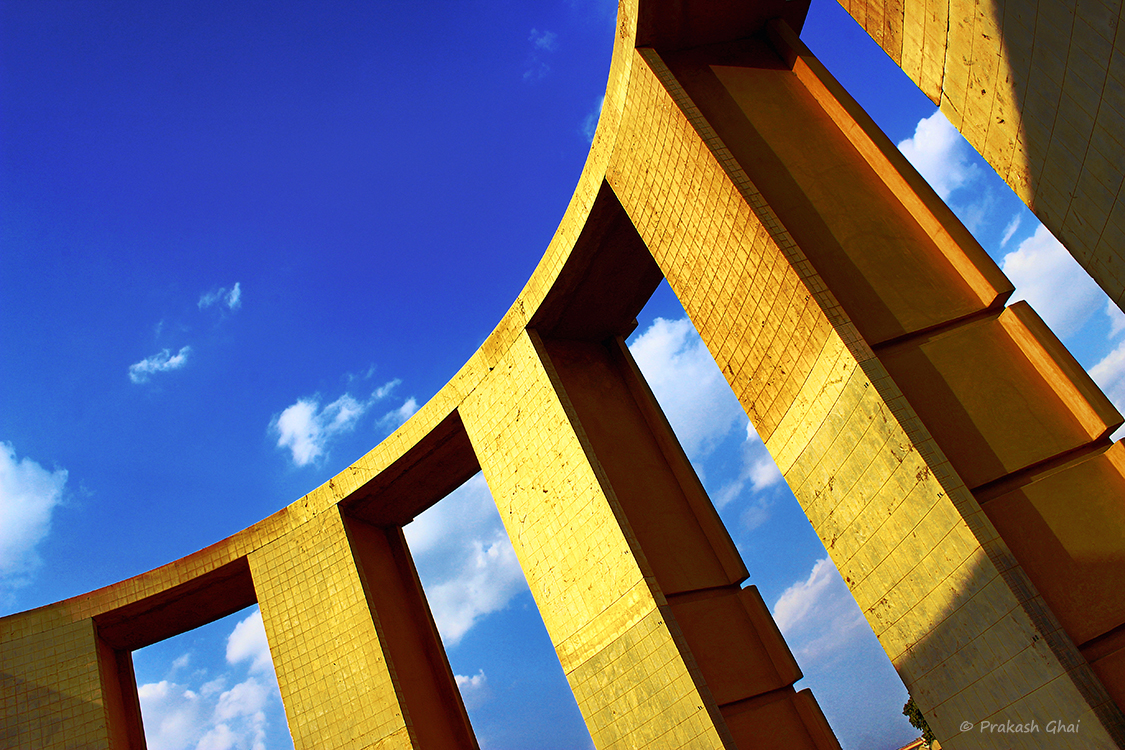 A Minimalist Photo of the Arcs of a astronomical instrument at Jantar Mantar Jaipur