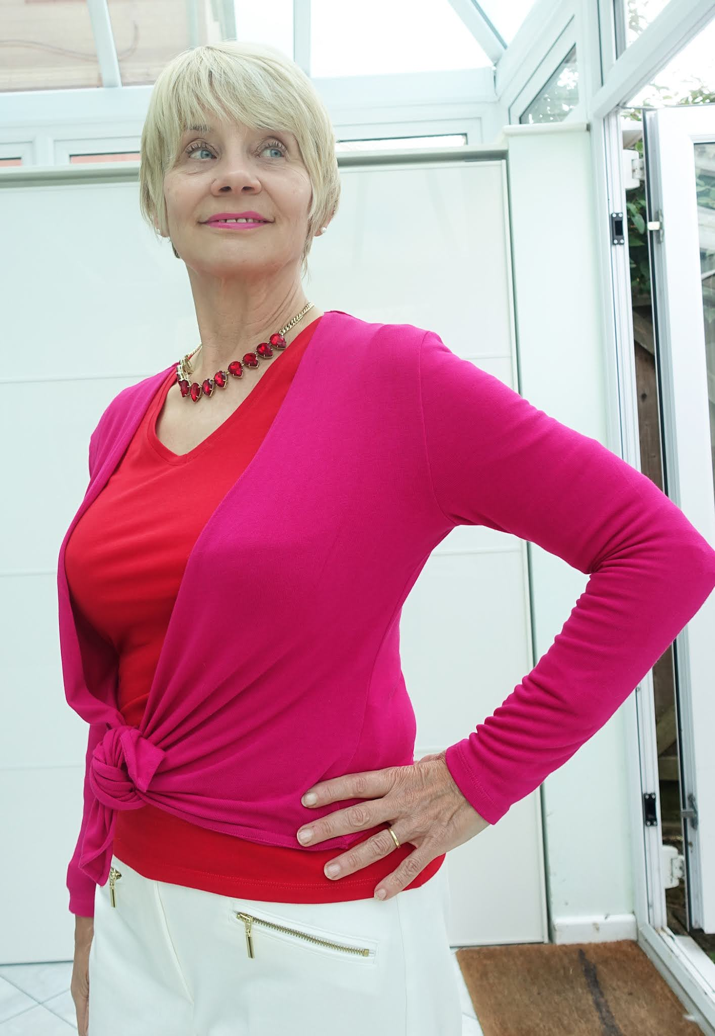 Fuchsia and Red with white: an eye popping combination worn bny over-60s fashion blogger Gail Hanlon from Is This Mutton