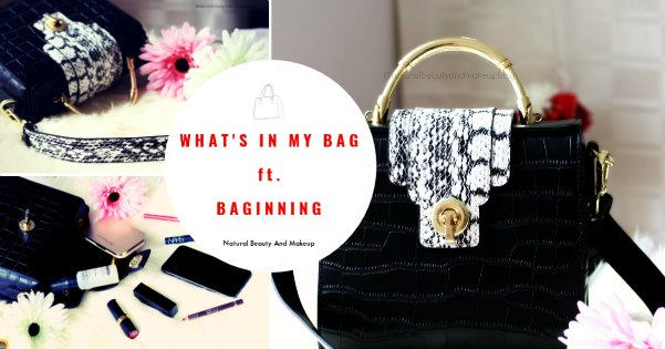 What's in my bag ft Baginning, website review and black Croco-printed snakeskin strap leather handbag review on NBAM blog