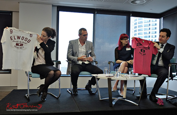 Elwood compared with.. Panel for the Sydney Fashion Law Breakfast at K&L Gates, L to R Lisa Egan, Anthony Halas, Glynis Traill-Nash, Jonathan Feder. Photographed by Kent Johnson for Street Fashion Sydney.