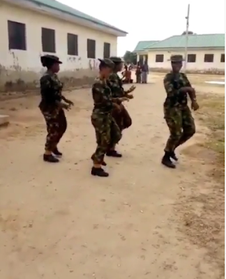 "Female Nigerian Soldiers Dance To Kizz Daniel ""Madu"" To Celebrate The New Month"