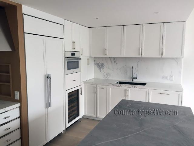 White marble kitchen countertops white cabinets