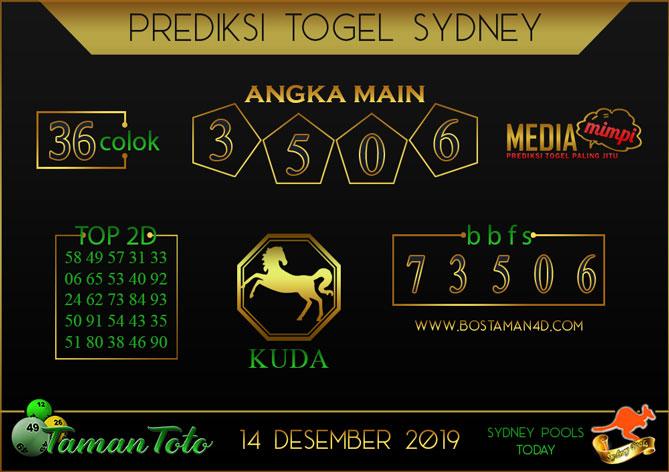 Prediksi Togel SYDNEY TAMAN TOTO 14 DESEMBER 2019