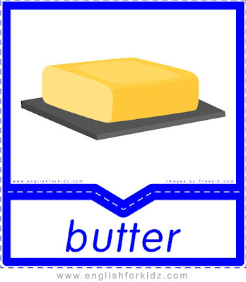 Butter - English food flashcards for ESL students