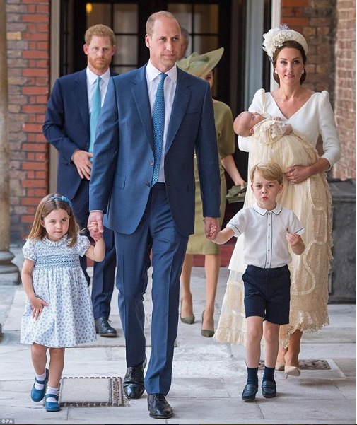Photos/video of members of the Royal family at Prince Louis' christening today