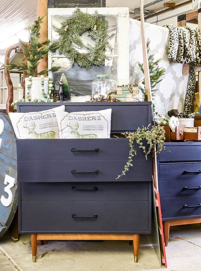 Painted MCM dresser styled for Christmas