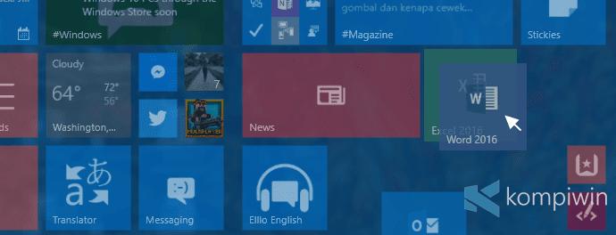 tiles start menu folder