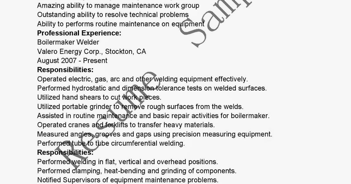 Resume Samples Boilermaker Welder Resume Sample - Boilermaker Resume