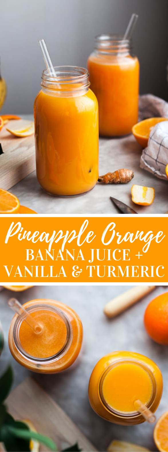 Pineapple Orange Banana Juice + Vanilla & Turmeric #drinks #healthy