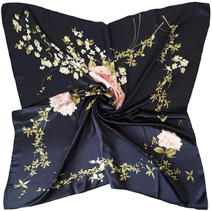 Navy Blue Silk Satin Scarves