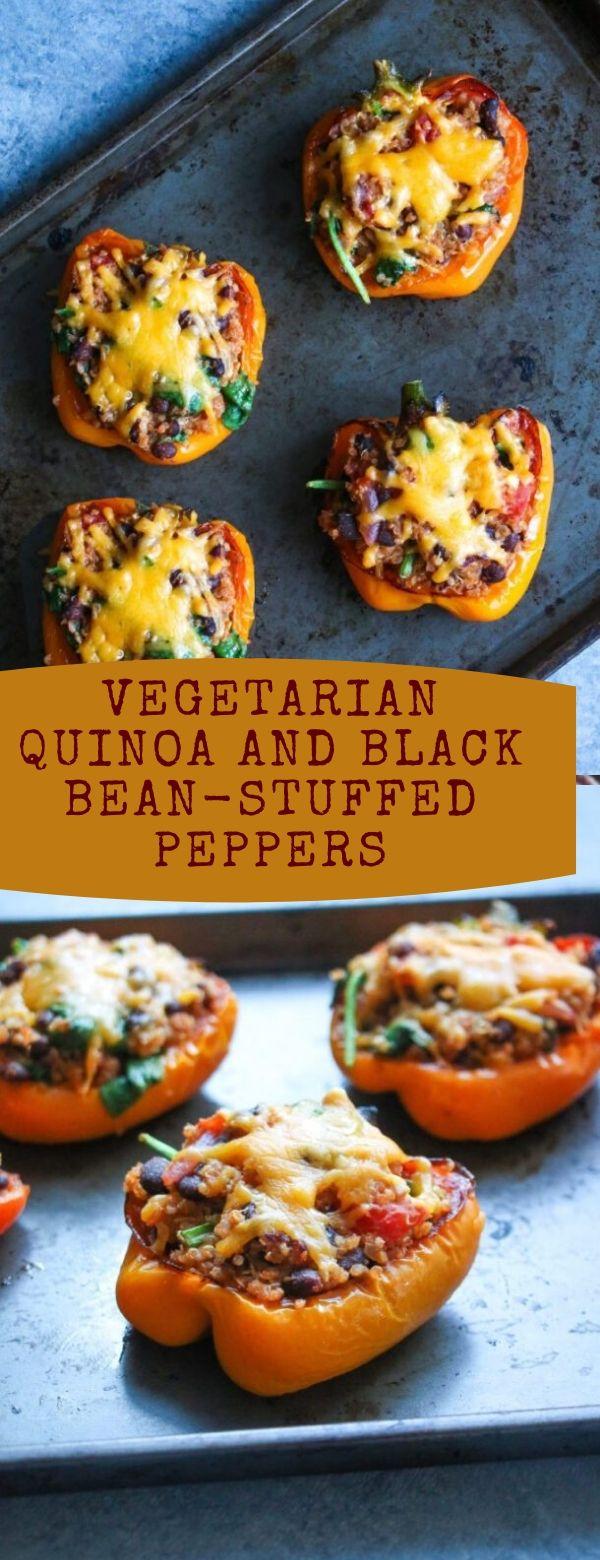 Vegetarian Quinoa and Black Bean-Stuffed Peppers
