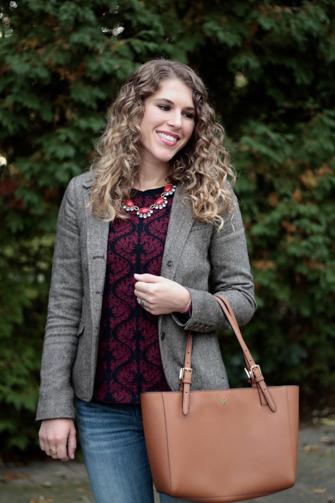 damask J.Crew sweater, tweed blazer, Express jeans, navy flats, Tory Burch tote