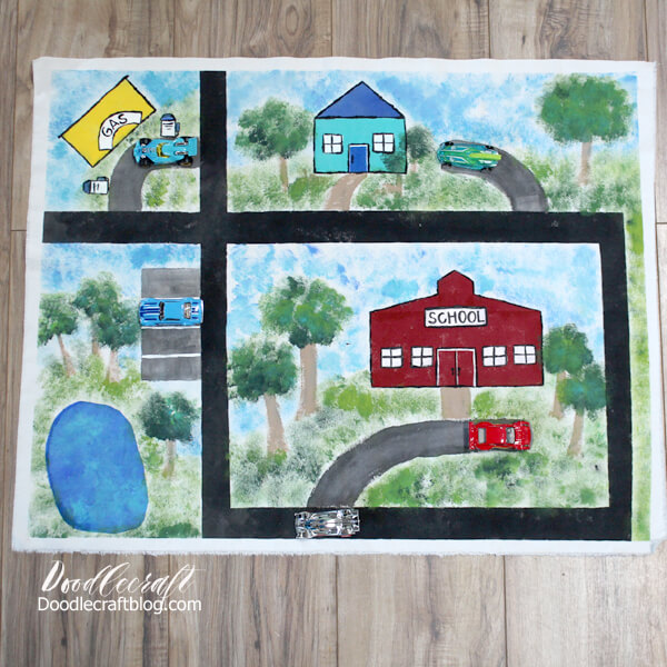 Car Play Mat Painted with Plaid Fabric Creations