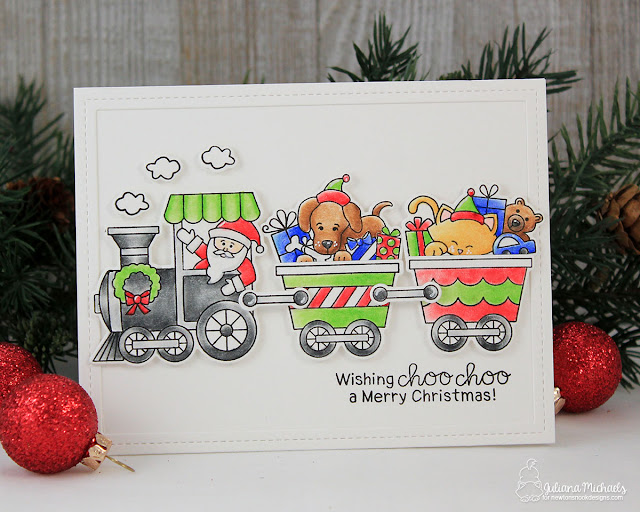 Merry Christmas Card by Juliana Michaels featuring All Aboard For Christmas Stamp Set by Newton's Nook Designs