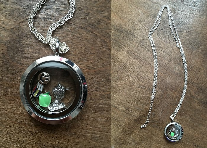 necklace, teacher charms, origami owl, inexpensive origami owl from hobby lobby
