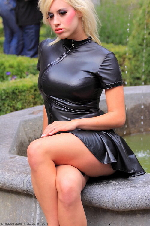 Tight leather minidress streetstyle fashion