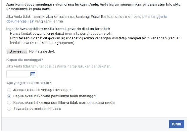 Menghapus Akun Facebook Orang yang Sudah Meninggal