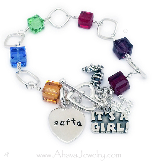 Safta or Savta Birthstone Bracelet with Charms for Grandma