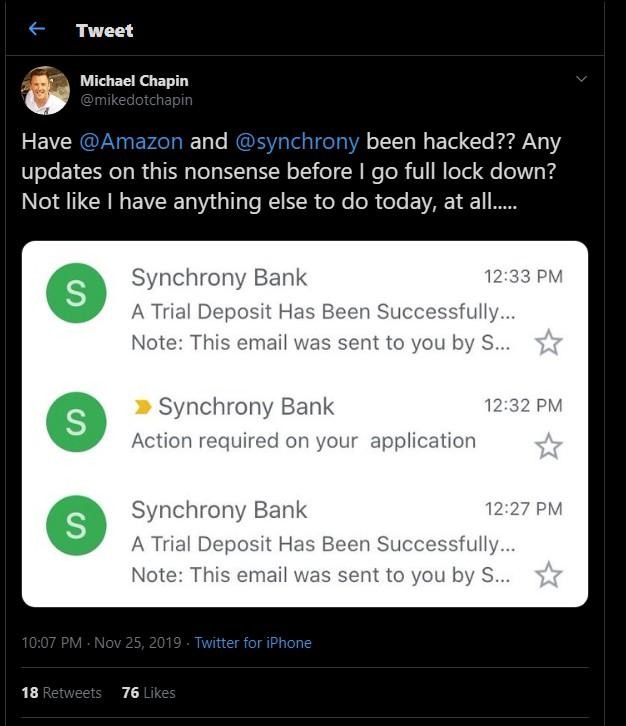 Synchrony Bank Amazon Credit Developer Email 'Glitch
