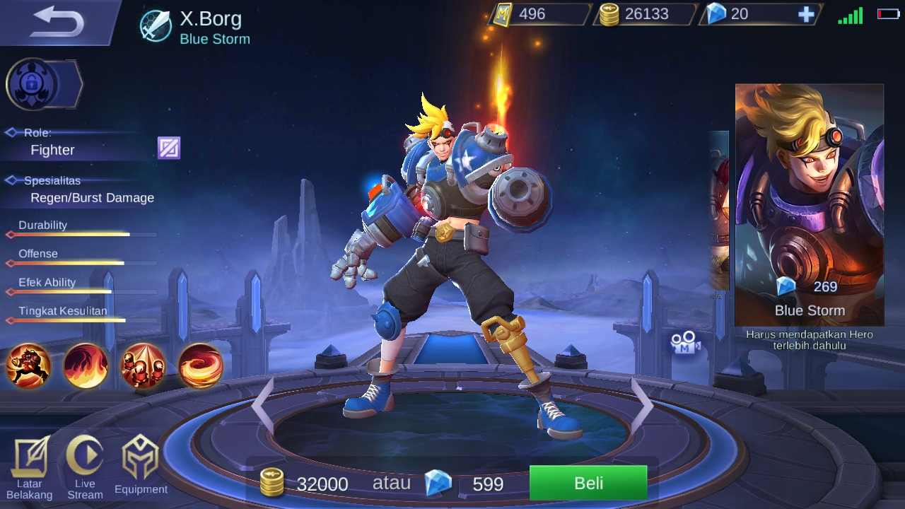 Panduan X.Borg - Hero Baru Dengan Role Fighter dengan Kekuatan Api