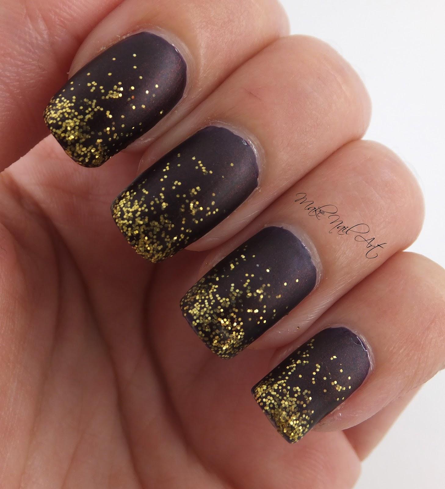 Make Nail Art: Easy Autumn Red And Gold Glitter Nails Nail Art ...