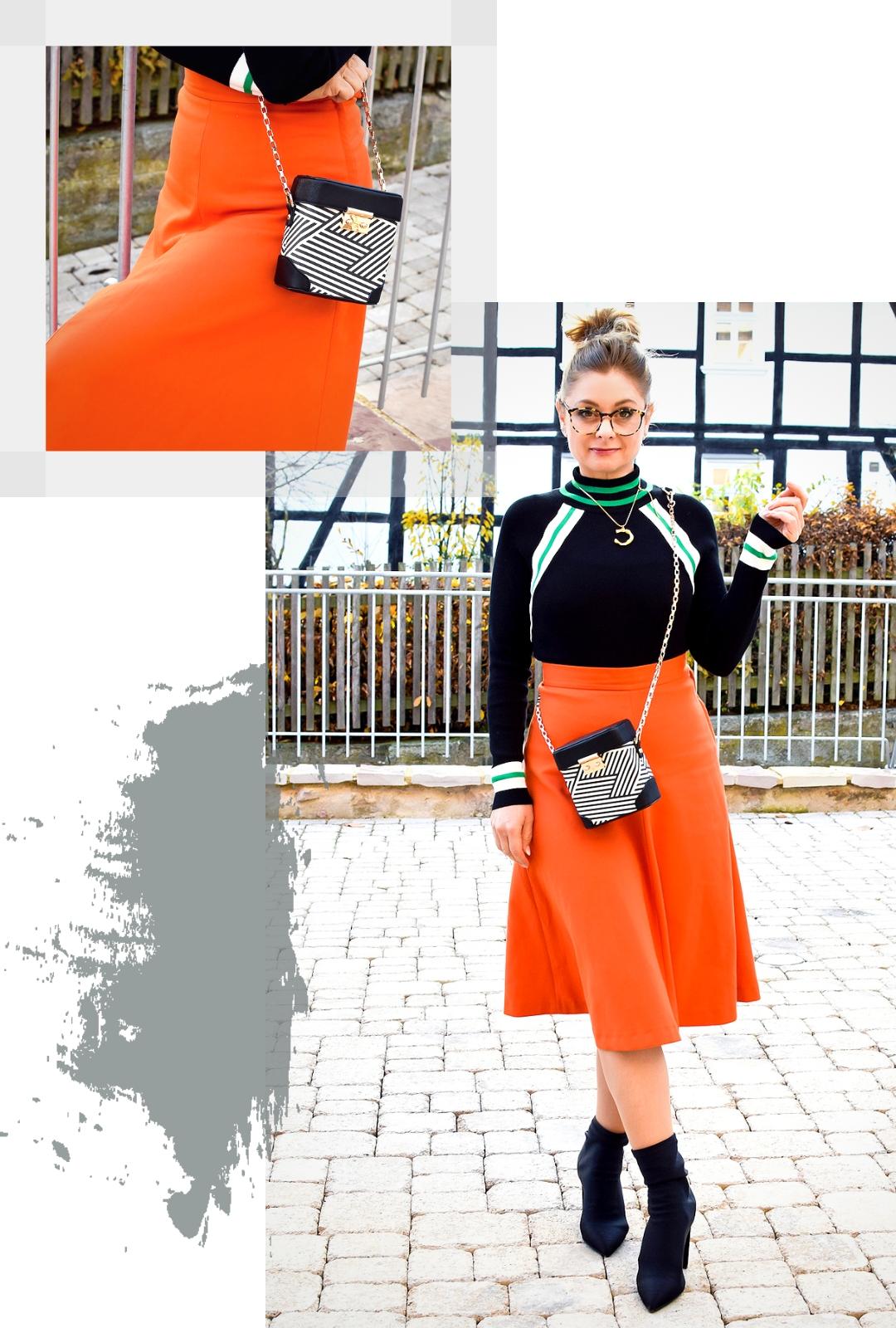 Rock in A-Linie, Orange, enger Pullover in Schwarz mit Turtleneck, Sockboots