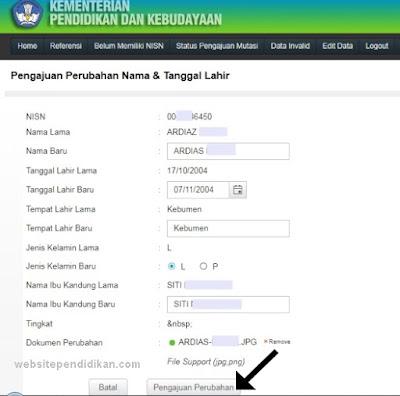 Pengajuan Perubahan Nama-Tanggal Lahir-Nama Ibu Kandung Siswa di Dapodik Verval PD