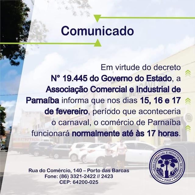 Comunicado: Associação Comercial e Industrial de Parnaíba