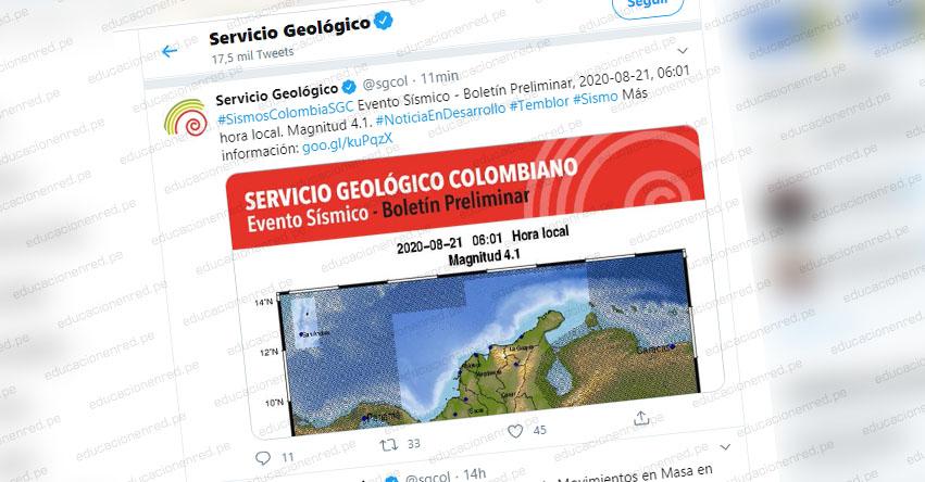 Temblor en Colombia de Magnitud 3.9 (Hoy Viernes 21 Agosto 2020) Terremoto - Sismo - Epicentro - Meta - En Vivo Twitter - Facebook - www.sgc.gov.co
